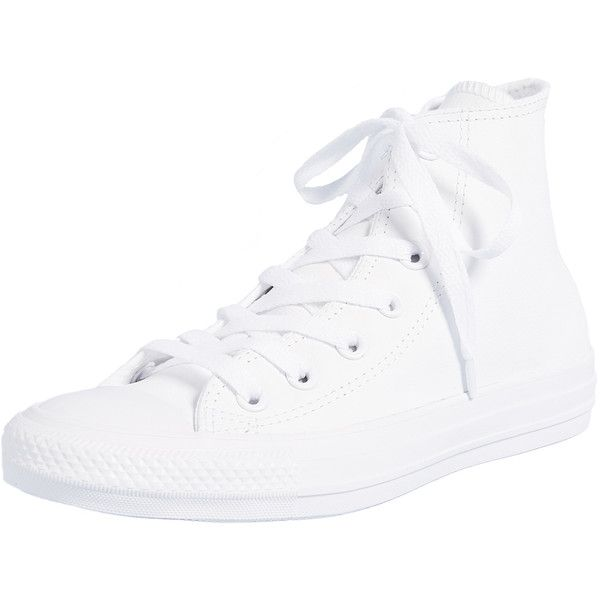Converse Chuck Taylor All Star High Top Sneakers ($70) ❤ liked on Polyvore featuring shoes, sneakers, white, leather high top sneakers, white high-top sneakers, white leather high tops, lace up sneakers and high-top sneakers