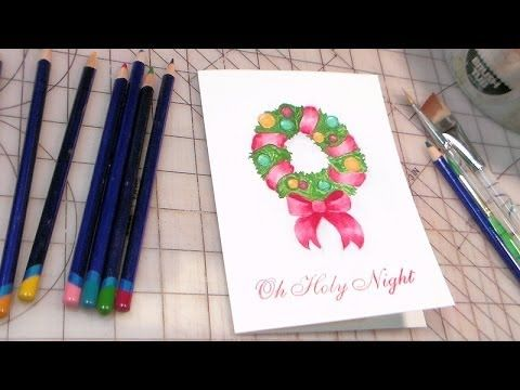 The Frugal Crafter Watercolor Tutorials on YouTube - Christmas Wreath Using Watercolor Pencils
