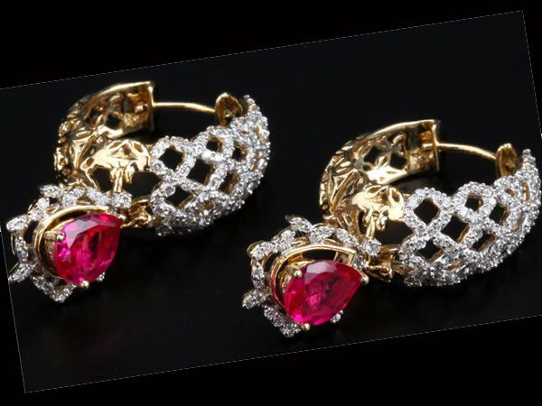 What: Diamond and ruby earrings by PC JewellersWhy we like: Wearing traditional clothes for a day-time function like a pooja or an engagement ceremony or a wedding? Pair these pretty earrings with your sari or salwar kameez to look chic in a jiffy.Where to buy: From PC Jewellers stores across India.