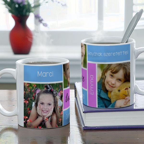 Fényképes bögre anyák napjára - 3 kép - 5 szó - Mondja el 3 képpel, és 5 szóval, mennyire fontos Önnek az anyukája, nagymamája! Mi pedig segítünk ezt megörökíteni egy egyedi fényképes bögrén. Ha a reggeli teát egy ilyen bögréből kortyolja a megajándékozott, máris vidámabban indul a napja! - Egyedi fényképes ajándékok webáruháza - www.kepesajandekom.hu