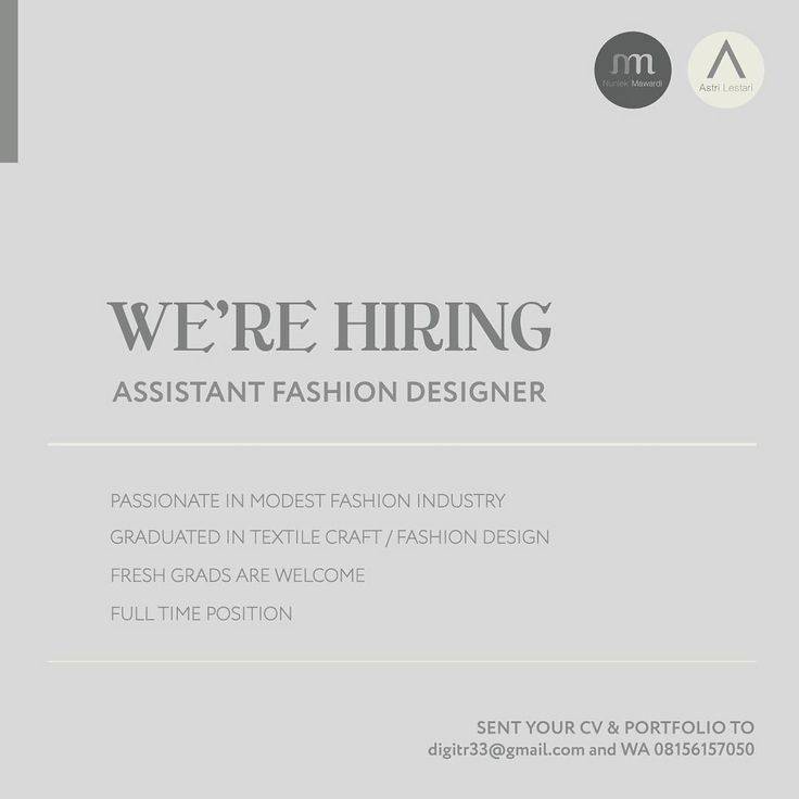 WE'RE HIRING for ASSISTANT FASHION DESIGNER! ✍�� Send your CV and Portfolio to digitr33@gmail.com and WA 08156157050 for further information. Stay Creative, people ������ #fashion #kriya #management #smu #smk #student #internship #school #magang http://butimag.com/ipost/1557330623164891922/?code=BWcv_NflMMS