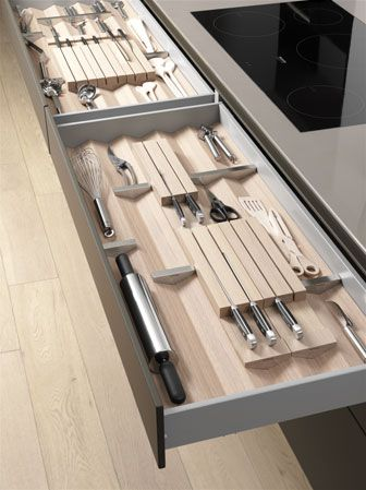 Bulthaup - B3  B3 modular drawer organization system in wood and stainless steel by Bulthaup, 973-226-5390