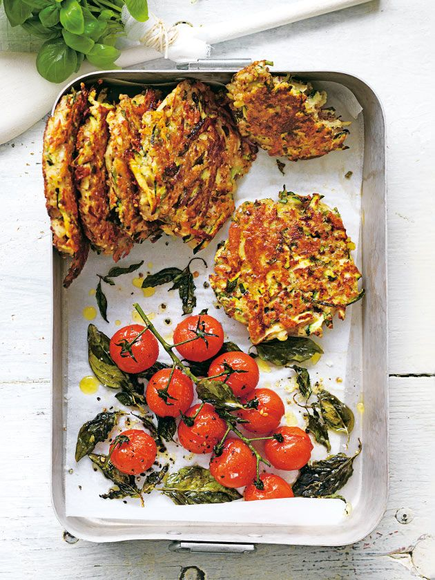 Zucchini and Haloumi Fritters with Roasted Tomatoes by donnahay #Fritters…