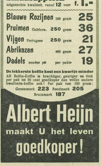 Advertentie uit 1955 van de Albert Heijn.