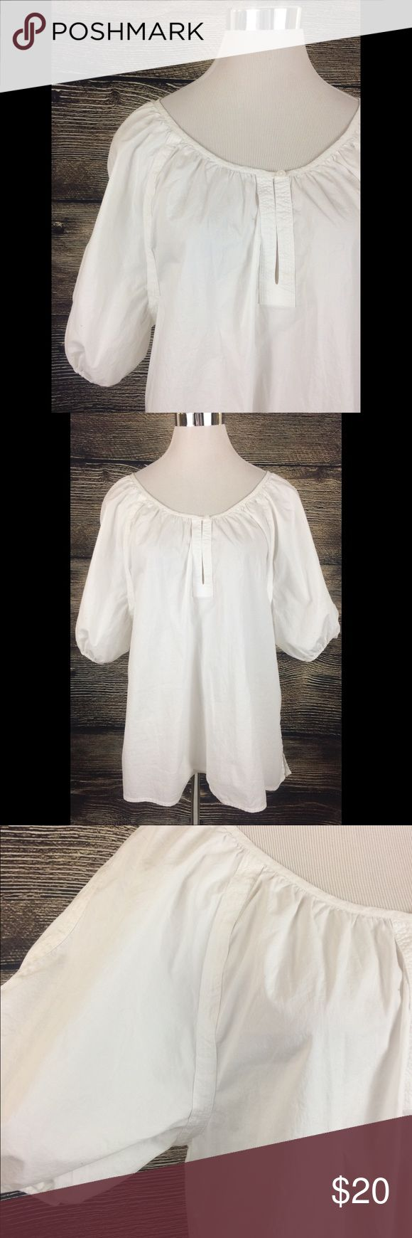 TALBOTS White Peasant Blouse Large Great condition. No stains or issues at all. Fluffy sleeves. Large. Cute neckline with Button. Talbots Tops Blouses