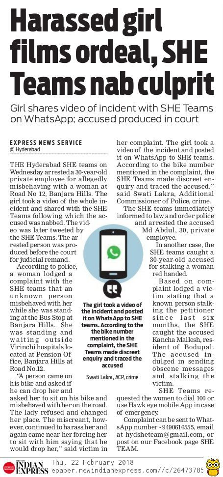 The Hyderabad SHE teams arrested a 30-year-old private employee for allegedly misbehaving with a woman at Banjara Hills.  #CriminalLawyersinHyderabad        #CriminalAdvocatesinHyderabad #AbhayaLegalServices                       #LegalServicesinHyderabad