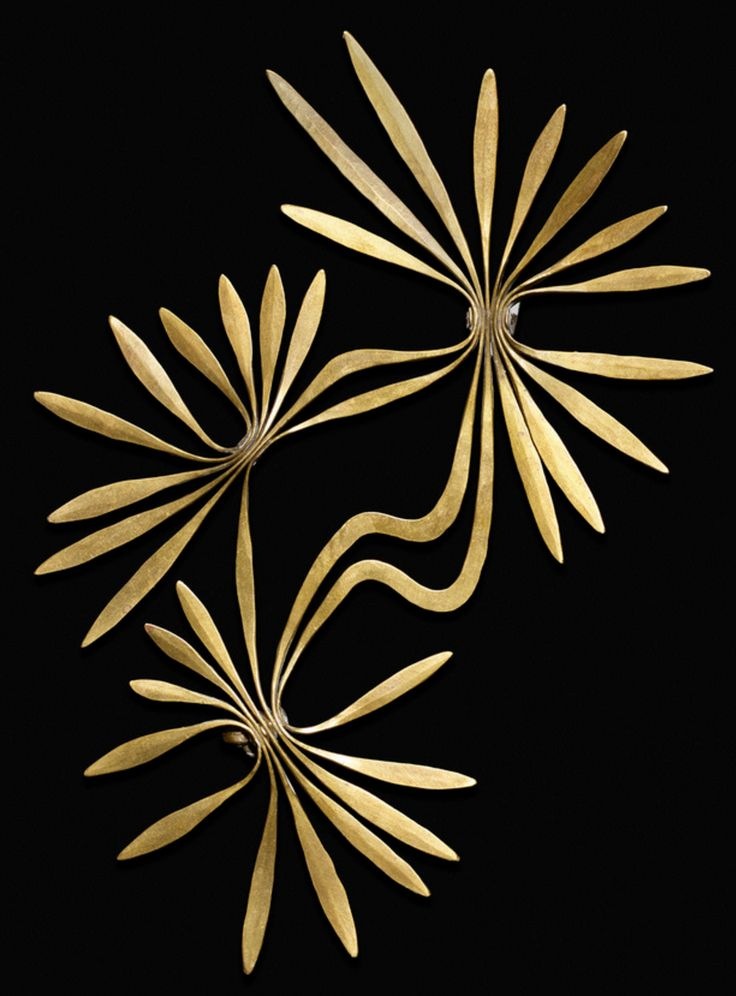 HARRY BERTOIA, Rare brooch, USA, c. 1942. Material hand forged and riveted brass, made by the artist.