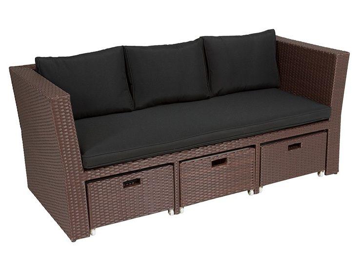 Comprar conjunto de terraza formado por una sofá, una mesa de centro y dos reposapiés escondibles de ratán sintético y poliéster para interior o exterior.