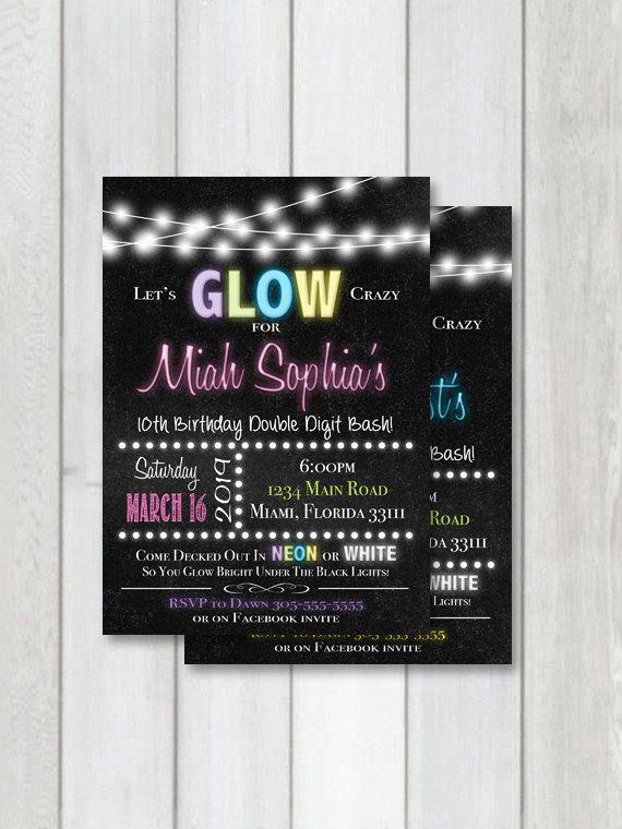 Glow party Chalkboard Invitation, Neon party printable invitation, black light…
