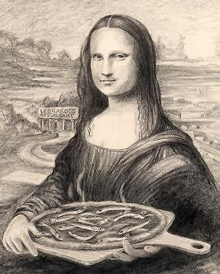 Mona Lisa Minnow Pizza 8X10 fish art print Cottage Decor picture by Barry Singer