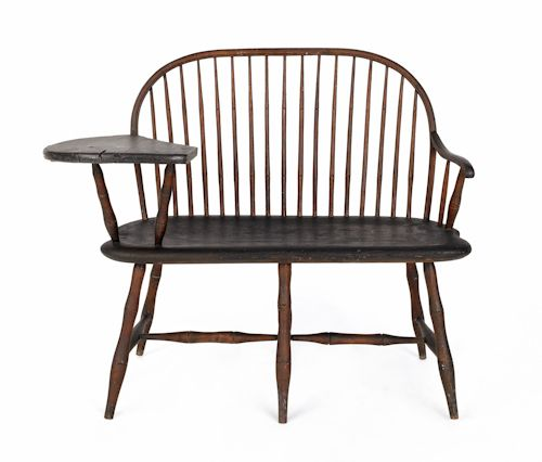 Bamboo Turned Chair: Rare Delaware Valley Writing Arm Windsor Settee, Ca. 1790