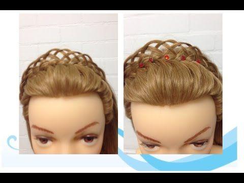 haarband kroontje (tiara) van een 3 strengen vlecht met lussen