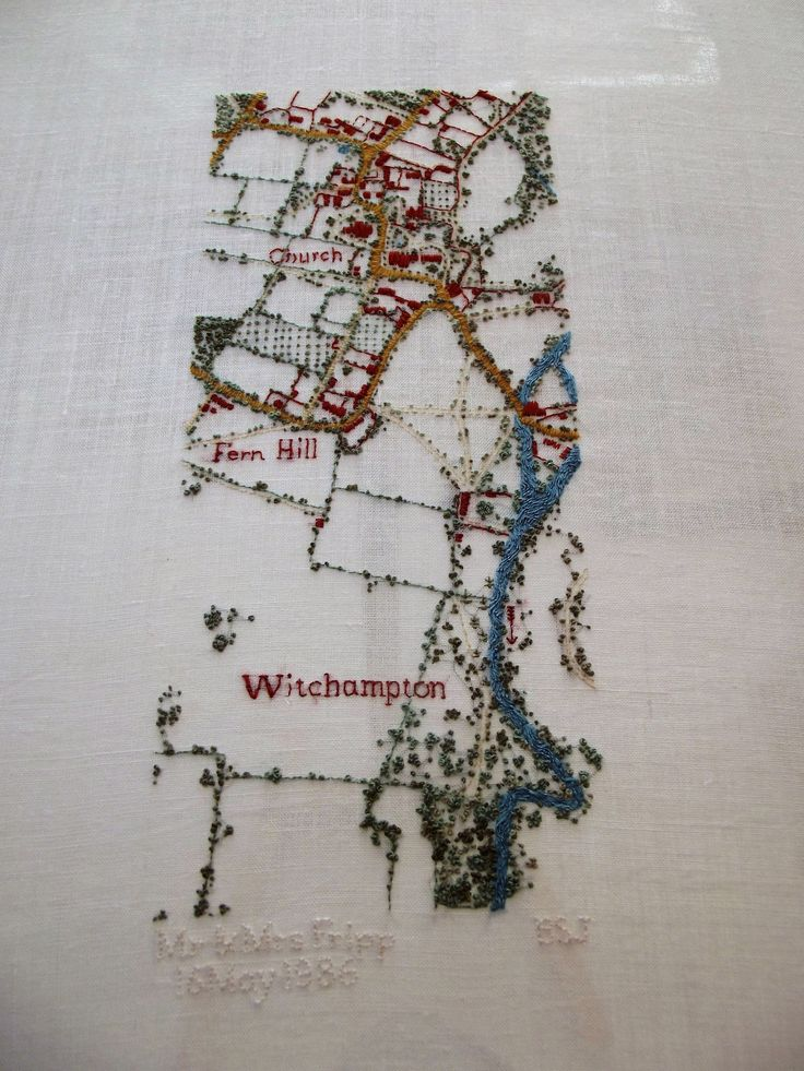 Hand embroidered map of Witchampton 922 best