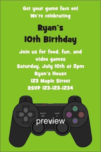 Playstation Xbox Video Game Invitation     Playstation Xbox Video Game Invitation.Get in the game with this awesome videogame invitation. If you're planning a video game theme party, then this invite is perfect for you! It's easy to customize it with the wording of your choice.