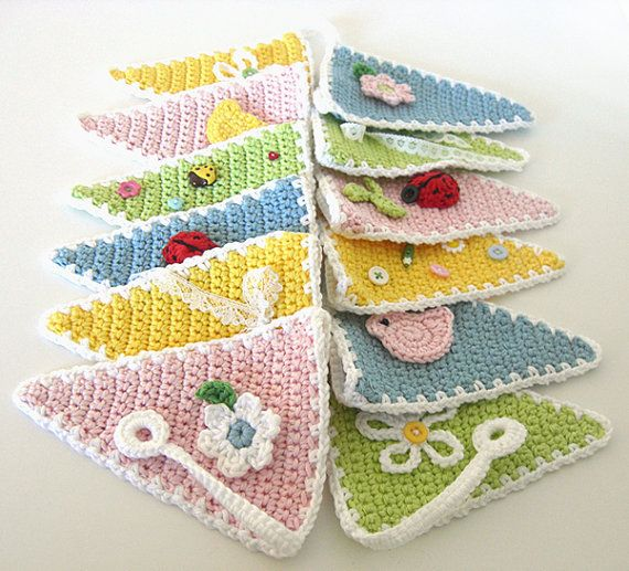 Crochet Garden Bunting Garland Spring Decor Flower Wall Hanging Bird Applique Crochet Nursery Decoration Kids