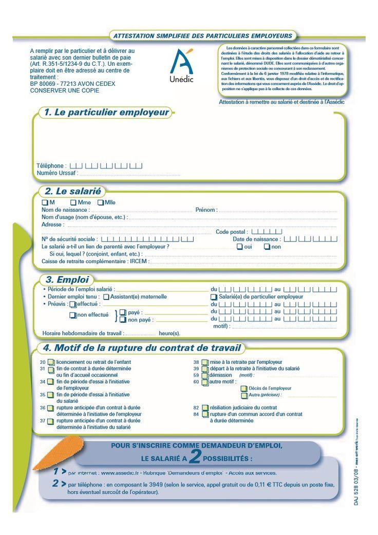 attestation employeur particulier bs pole emploi pdf en