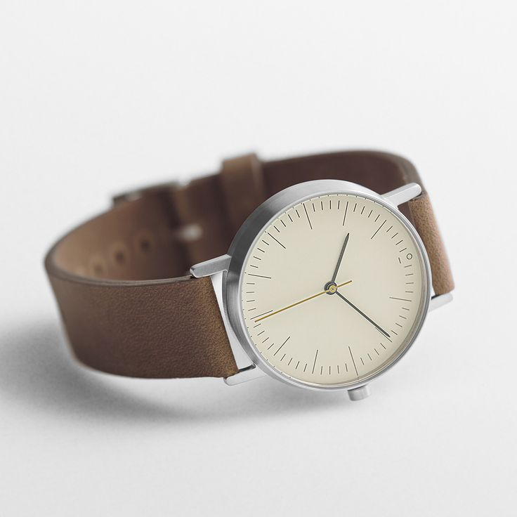 Stock Watches - S001B - 36mm, brushed steel, Swiss quartz movement, leather strap