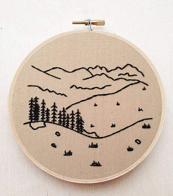Forest Mountain Tree Landscape Hand Embroidery Country Nature Fiber Art Minimalist Embroidery Landscape Embroidery Decor Sailor Jerry Art