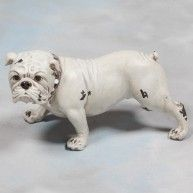 Antique White Bulldog Figure vintage style dog ornament