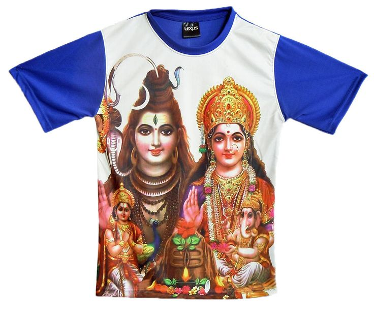 Printed Shiva Family on White with Blue T-Shirt (Synthetic)