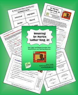 Honoring Dr. Martin Luther King, Jr.  ~ Free resources from Laura Candler to go with the free BrainPOP video about Dr. King