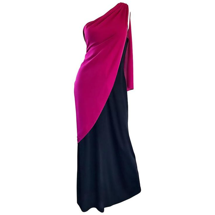 Bill Blass Vintage Raspberry Pink   Black Color Block Grecian One Shoulder Gown | From a collection of rare vintage evening-gowns at https://www.1stdibs.com/fashion/clothing/evening-dresses/evening-gowns/