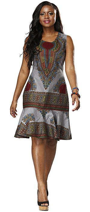 Shenbolen Women Traditional African Clothing Print Batik Cloth Dashiki Short Sleeve Dress (Large, Silver)