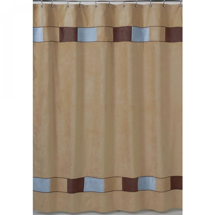 JoJo Designs Soho Blue and Brown Shower Curtain - ShowerCurtain-SohoBlue