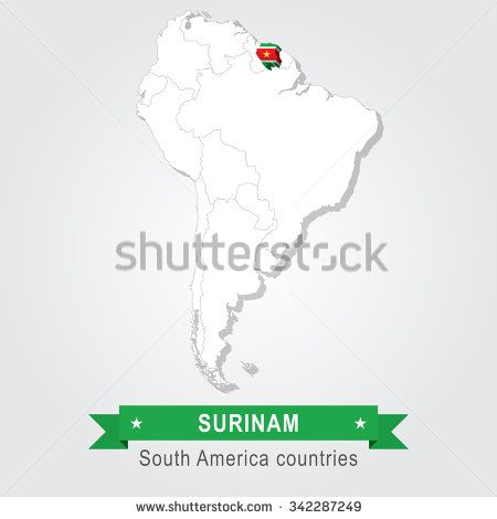 Surinam. All the countries of South America. Flag version.