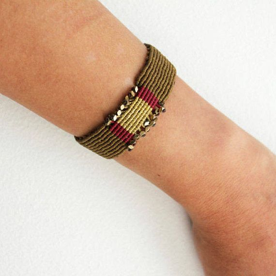 Wide braided bracelet Macrame bracelet Statement jewelry