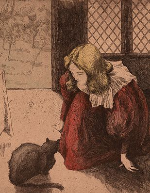 Etching with hand coloring by Alfredo Müller, 1897, Interno (Young Girl with Cat).