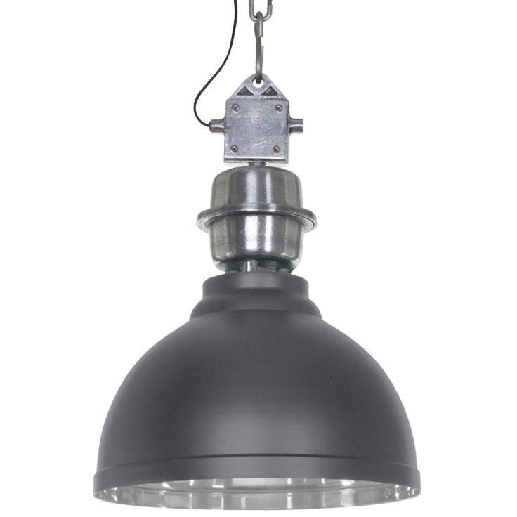 Industriele hanglamp in het zwart met stoere ijzeren detalis. ✓ Gratis verzending ✓ Snelle levering ✓ Keurmerk ✓ Garantie