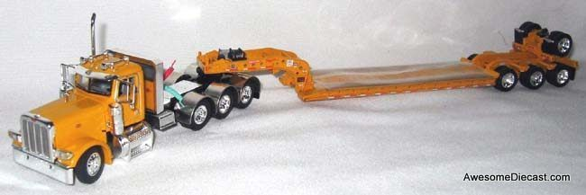 DCP 1:64 Peterbilt 389 Day Cab Tri-Axle with Four Axle Fontaine Lowboy Trailer - Construction Yellow