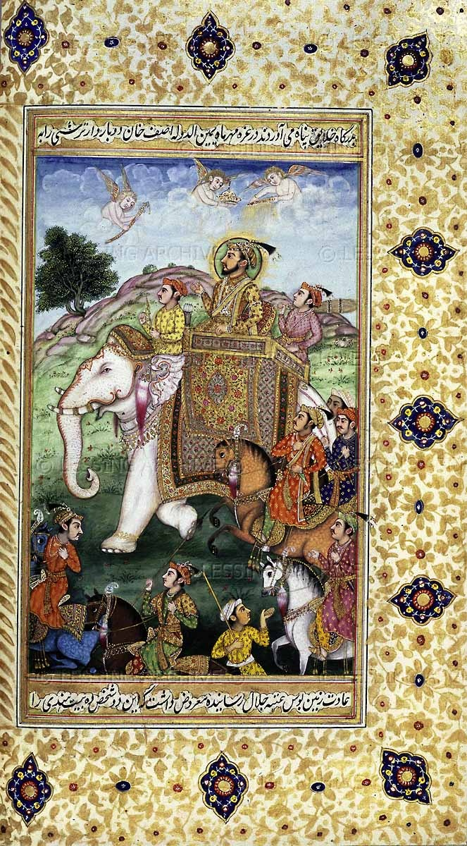 """Shah Jahan, the Mughul emperor of India, riding a white elephant, 18th century. The elephant's coverings and tusks are richly decorated. Angels above carry a sword, a crown and a flaming bowl. Courtiers and soldiers on horseback in the foreground. From the Padshahnamen of Tarikh-i-Shah Jahahn"""" The British Library."""