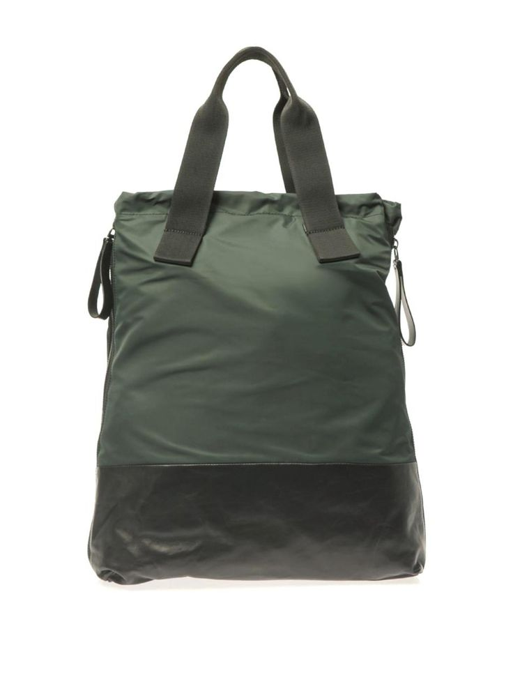 Nylon and calf-leather shopper bag by Lanvin