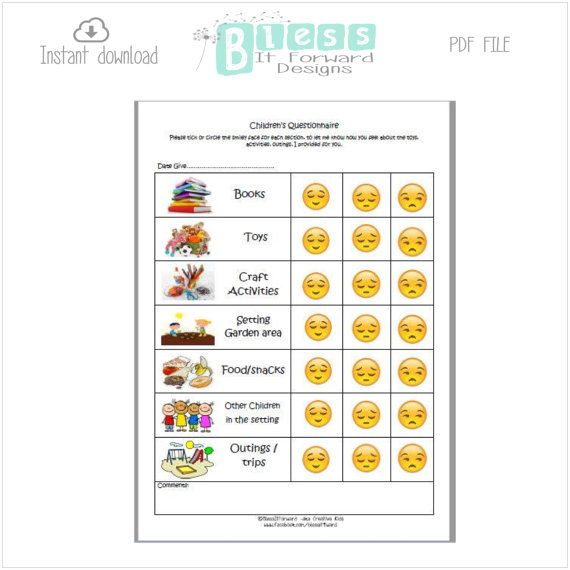 Childrens Questionnaire   childcare / teaching by BlessItForward