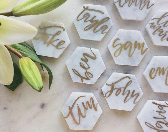 Reserved for Kathy// Marble Hexagon Tile by FoxandSparrowDesign