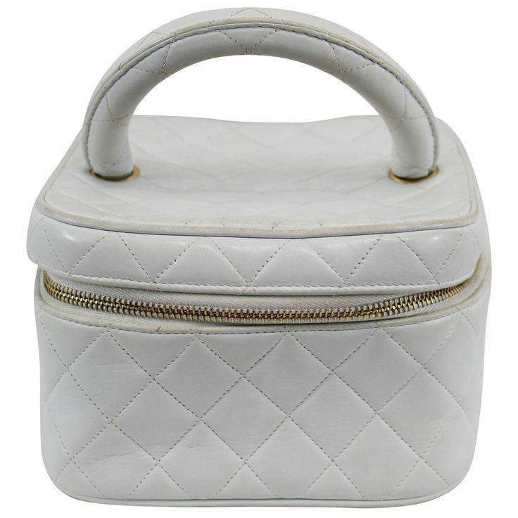 Vintage 1990s Chanel White Leather Vanity Case