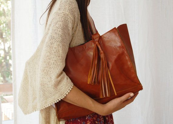Brown leather tote leather laptop bag large by Albertinaboutique