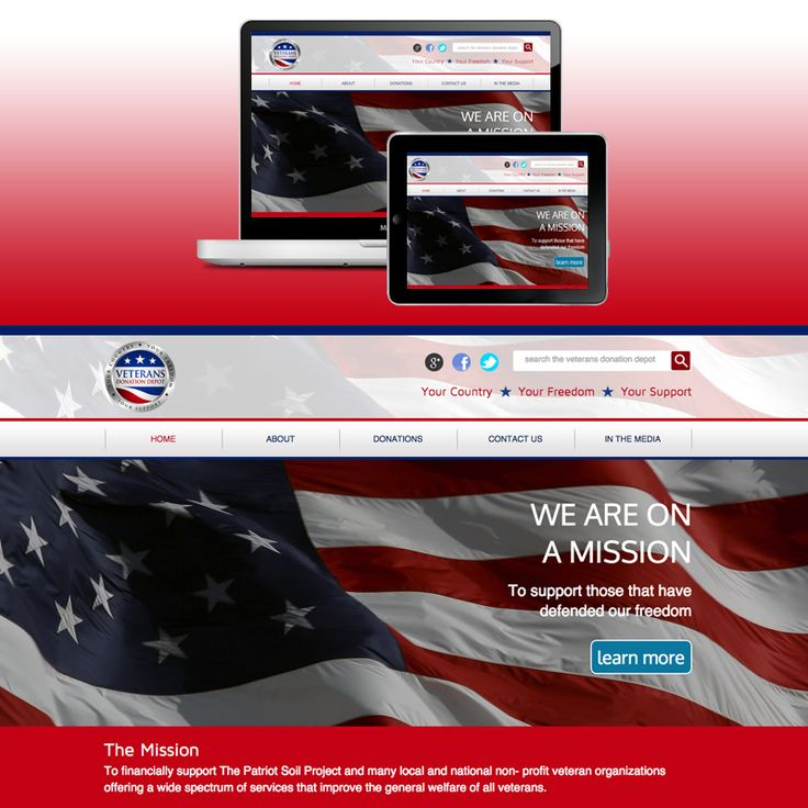 Veterans Donation Depot - The Veterans Donation Depot's website allows users to easily make donations in support of the men and women who bravely served in the United States Armed Forces. Recent support news, upcoming events, and their incredible mission statement are highlighted across the pages. www.veteransdonationdepot.org #WebDesign #WashingtonDC #DC