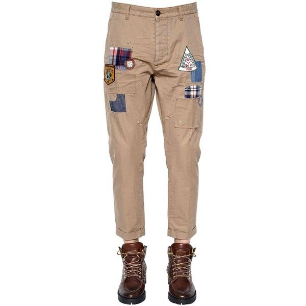 Dsquared2 Men 17cm Hockney Patches Twill Chino Pants ($580) ❤ liked on Polyvore featuring men's fashion, men's clothing, men's pants, men's casual pants, khaki, mens pants, men's 5 pocket pants, mens chinos pants, mens khaki chino pants and mens khaki pants