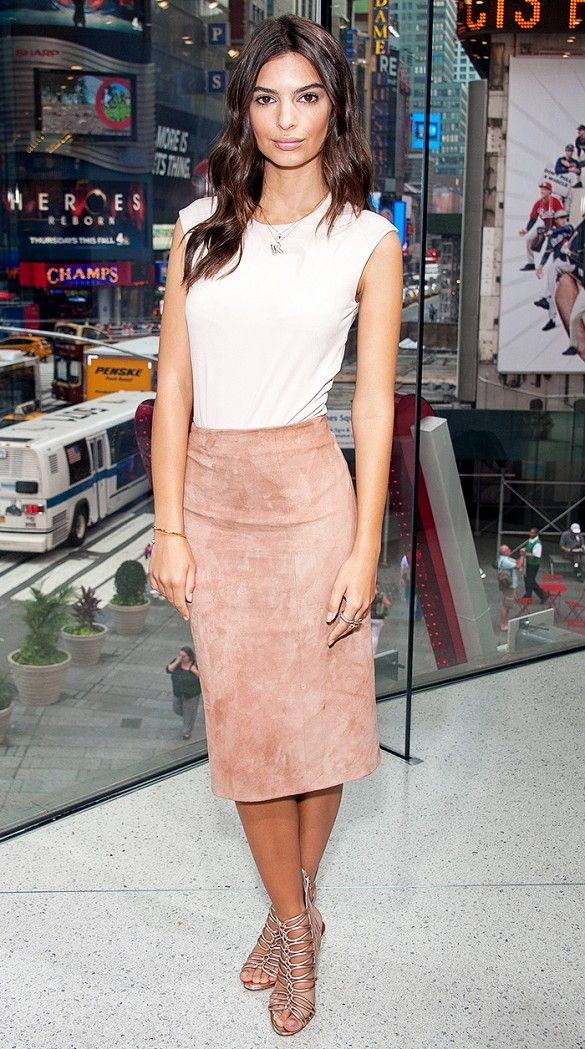 Emily Ratajkowski wears a bodysuit with a suede pencil skirt and strappy sandals