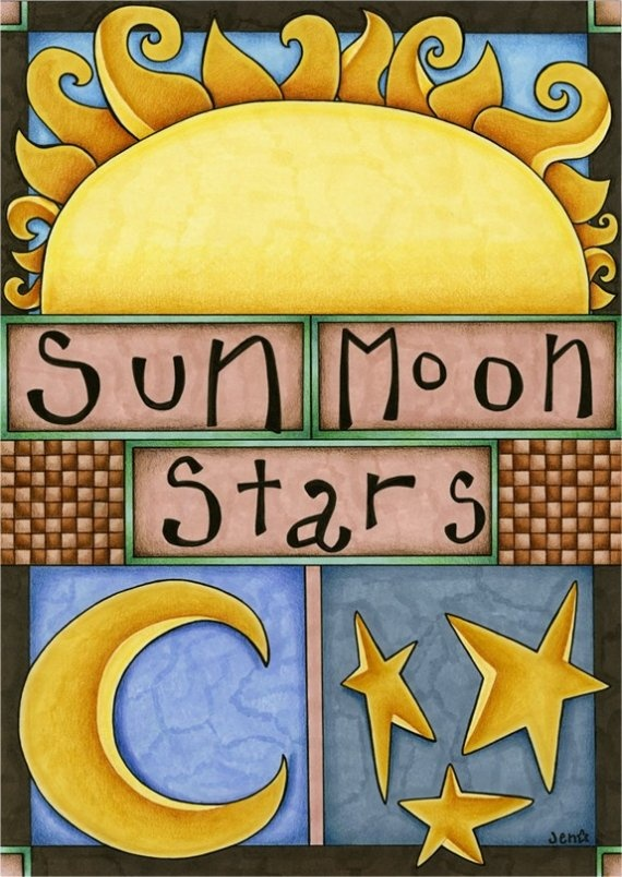 Greeting Card Sun Moon And Stars