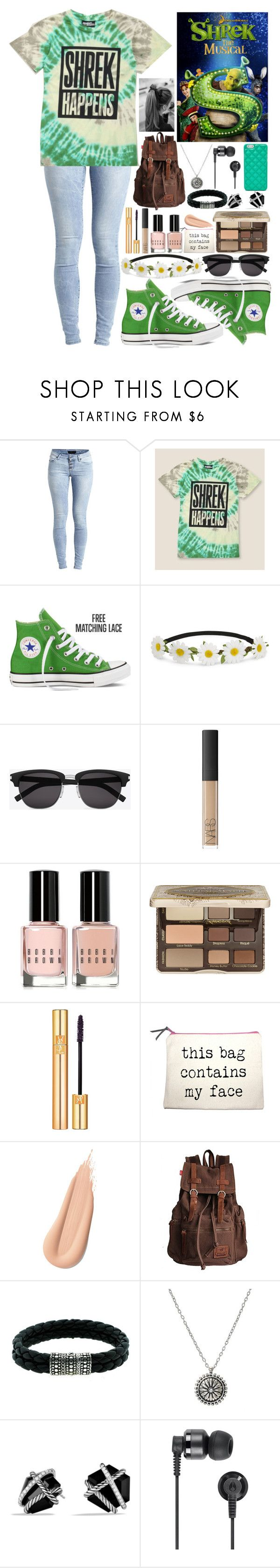 """Goin to see Shrek the Musical!!!! :D"" by motionlessinrave ❤ liked on Polyvore featuring Object Collectors Item, Jeremy Scott, Converse, Impulse, Yves Saint Laurent, NARS Cosmetics, Bobbi Brown Cosmetics, Too Faced Cosmetics, John Hardy and David Yurman"