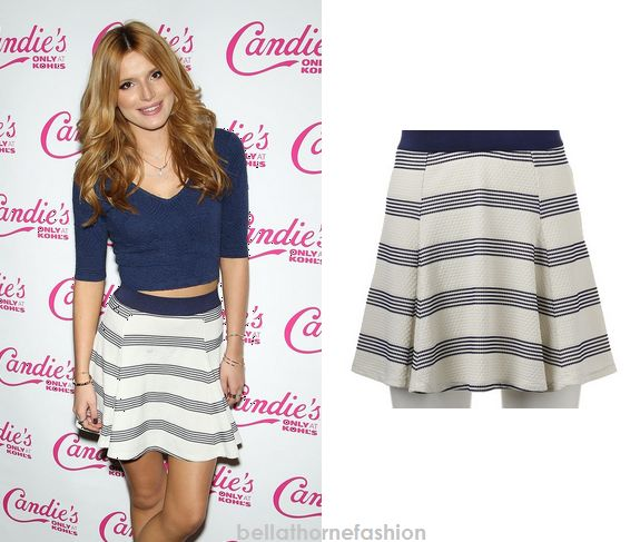 Bella Thorne wears this Candie's® Striped Jacquard Skatert Skirt at the Candie's Holiday and Resort Collection Launch event at Tender NYC in New York City on November 18th 2014.