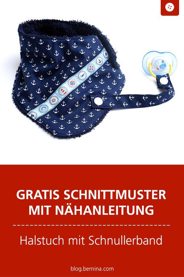 Modèle gratuit avec instructions de couture (Freebook): Foulard à coudre avec sangle à sucette    – Nähen für Baby & Kind