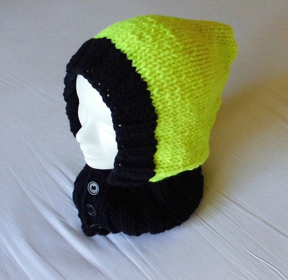 Bright yellow hood by TheKnittingRobot on Etsy