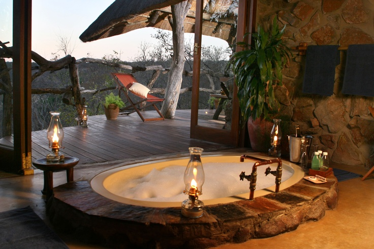 Stunning outdoor African hot tub.