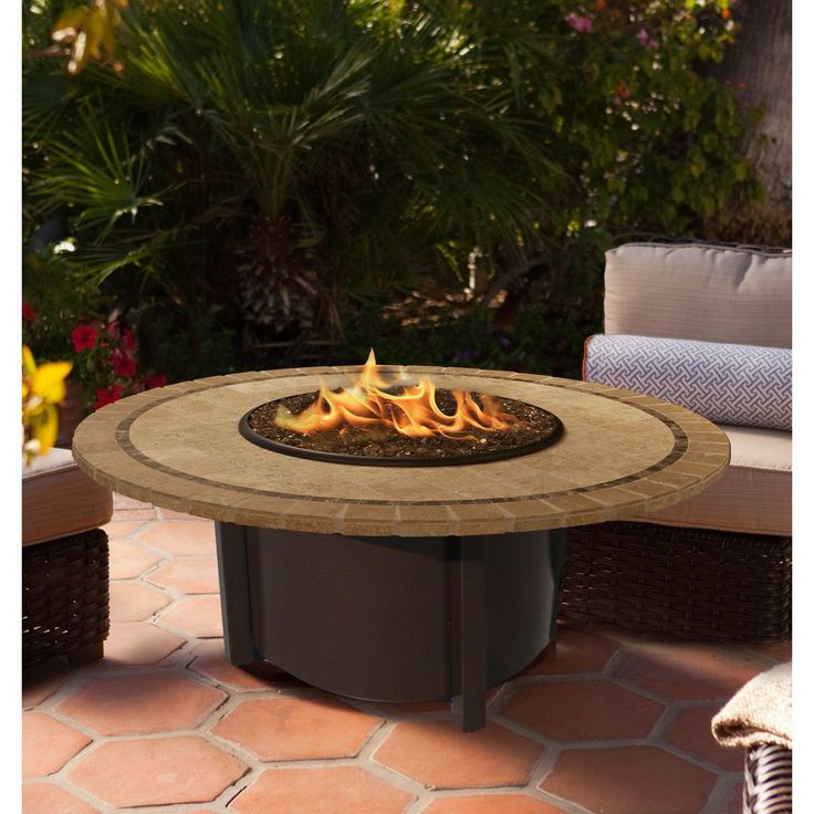 "American Fire Glass - Carmel Round Fire Pit w/ 42""/48"" Capistrano Mosaic Top - AFP-CAR-RDCAP-42"