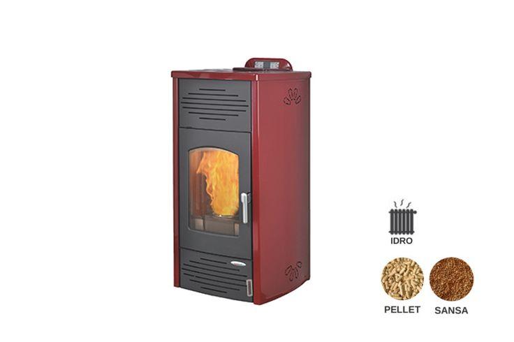 Termostufa pellet e sansa idro, collegabile direttamente all'impianto dei termosifoni
